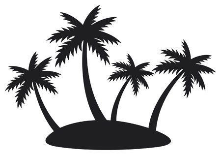 beach thailand: illustration of tropical island with four palms