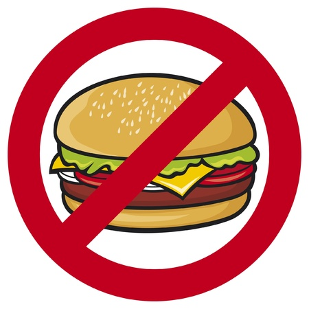 poor health: fast food danger label (hamburger, no fastfood sign, stop fast food)