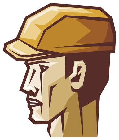 metallurgist: worker head profile (construction worker, builder) Illustration