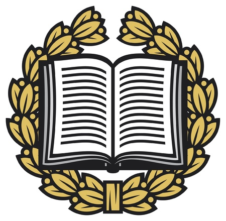 literacy: open book and laurel wreath  book emblem, book symbol, school symbol, book icon