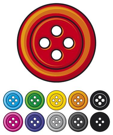 buttons: insieme di pulsanti colorati per cucire collezione di bottoni da cucire Vettoriali