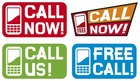 call now label, call us label, free call label  phone icon set, phone icons, mobil phone icons  Stock Vector - 15686818