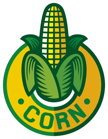 maize: corn label  corn symbol, corn sign, corn badge  Illustration