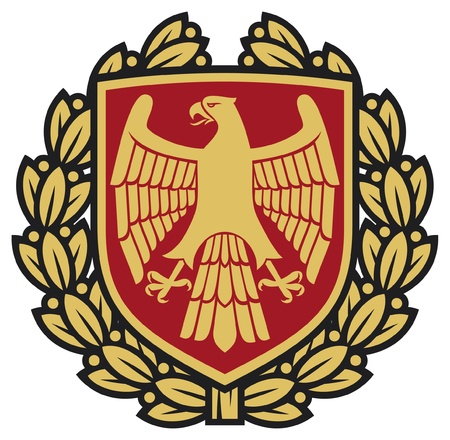 eagle badge: eagle emblem  eagle coat of arms, eagle symbol, eagle badge, eagle shield and laurel wreath