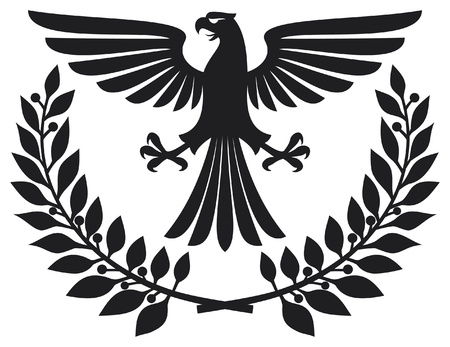 heraldic eagle: eagle emblem  eagle coat of arms, eagle symbol, eagle badge, eagle and laurel wreath  Illustration