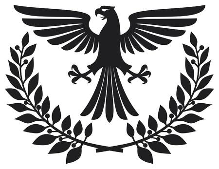 heraldry: eagle emblem  eagle coat of arms, eagle symbol, eagle badge, eagle and laurel wreath  Illustration