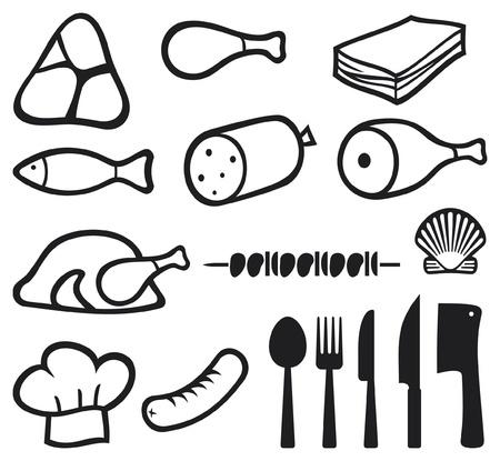 viande couteau: ic�nes de viande d�fini, toque, couteau, fourchette, cuill�re et couperet � viande ic�ne bacon, le salami, brochettes, coquillage, poissons, saucisses, steak, cuisse de porc, jambon, viande ic�nes symboles