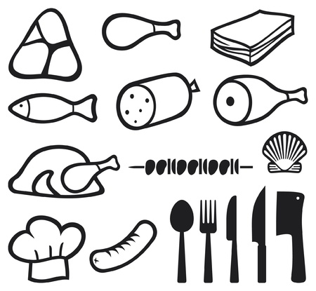 whole chicken: meat icons set, chef hat, knife, fork, spoon and meat cleaver icon  bacon, salami, skewers, shell, fish, sausage, steak, pork leg, ham, meat icons symbols