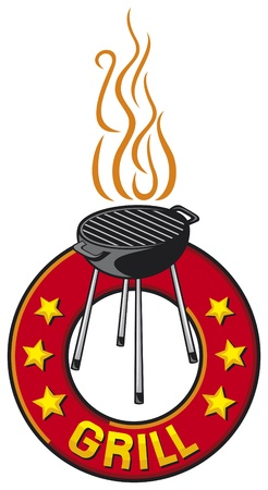 barbecue grill label  barbecue grill symbol  Vector