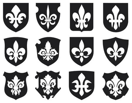 lily flower: lelie bloem - heraldisch symbool fleur de lis en middeleeuwse schilden koninklijke franse lelie symbolen voor ontwerpen en inrichten, lelie bloemen verzamelen, lelie bloemen set, schilden instellen
