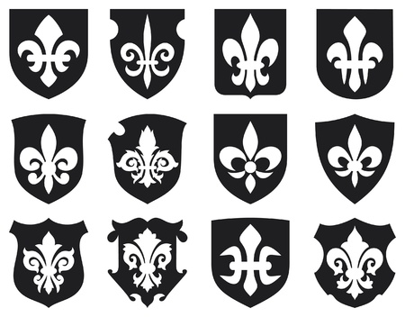 royal french lily symbols: lily flower - heraldic symbol fleur de lis and medieval shields  royal french lily symbols for design and decorate, lily flowers collection, lily flowers set, shields set
