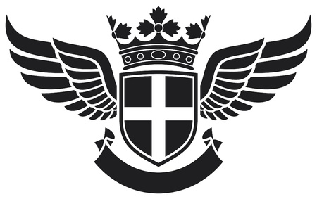 heraldry: coat of arms - shield, crown and wings tattoo  tattoo design, cross badge, cross symbol  Illustration