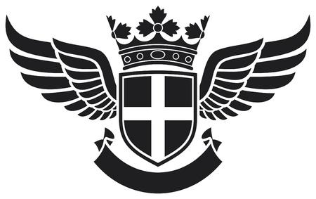 ali angelo: stemma - lo scudo, corona e le ali tatuaggio disegno del tatuaggio, distintivo croce, simbolo della croce Vettoriali