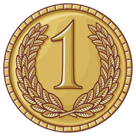 primer lugar: medalla de primer lugar (medalla con corona de laurel, primer premio, medalla de oro)