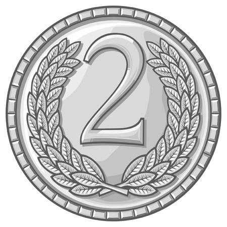 medalla de segundo lugar (medalla con corona de laurel, segundo premio, medalla de plata)