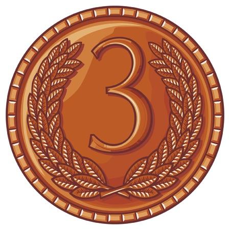 medalla de tercer lugar (medalla con corona de laurel, premio tercer lugar)
