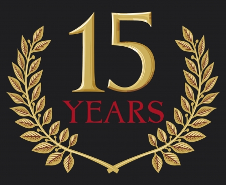 golden laurel wreath 15 years (15 years jubilee, fifteen years anniversary) Vector
