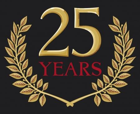 twenty five: corona de laurel de oro 25 a�os (25 a�os de aniversario, vig�simo aniversario de cinco a�os) Vectores