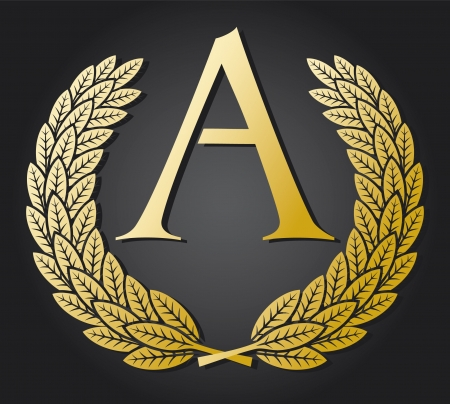 letter A and gold laurel wreath (gold letter A) Stock Vector - 15686888