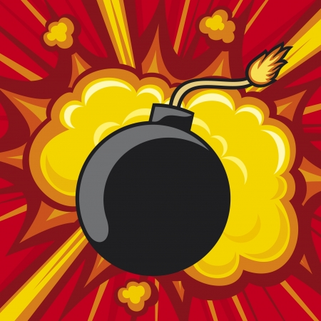 old bomb starting to explode (comic book explosion) old style bomb Vector