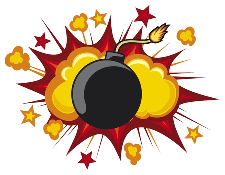 detonated: old bomb starting to explode (comic book explosion) old style bomb