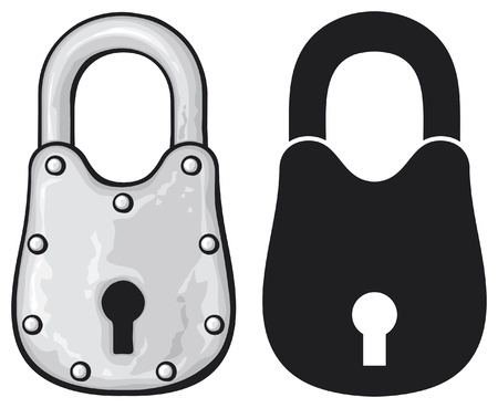 illustration of rusty padlock (old padlock) Illustration