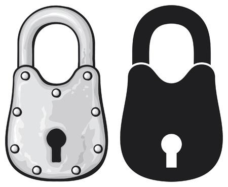 safe lock: illustration of rusty padlock (old padlock) Illustration