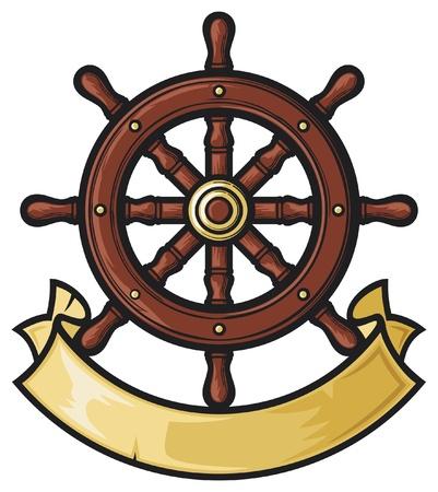 con: rudder (rudder in tattoo style, rudder and banner)