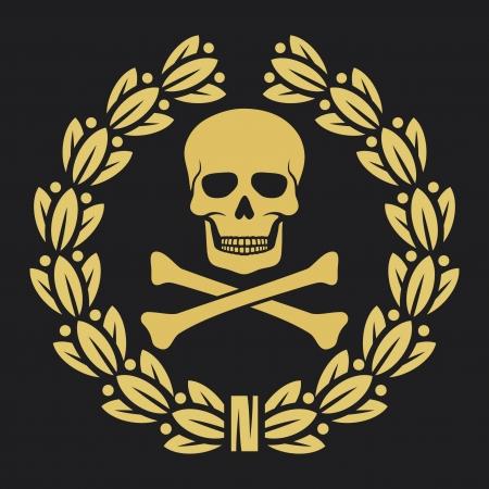 skull and crossed bones: cr�neo, los huesos y los s�mbolos corona de laurel (s�mbolo del pirata, cr�neo y huesos cruzados, cr�neo con huesos cruzados, cr�neo y huesos s�mbolo, s�mbolo piratas)