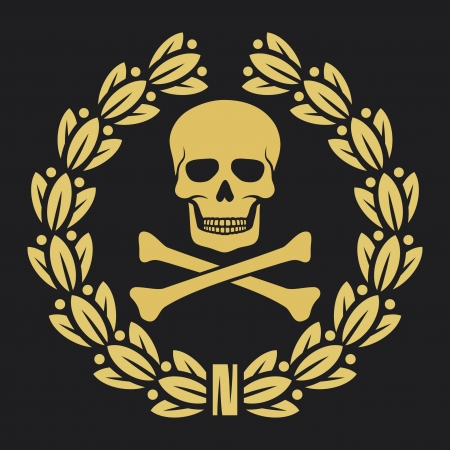 dreadful: skull, bones and laurel wreath symbol (pirate symbol, skull and cross bones, skull with crossed bones, skull and bones symbol, pirates symbol)