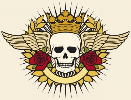 calavera caricatura: s�mbolo del cr�neo - dise�o del cr�neo del tatuaje (corona, corona de laurel, las alas, las rosas y la bandera)