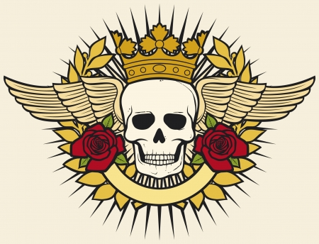 roger: skull symbol - skull tattoo design (crown, laurel wreath, wings, roses and banner)