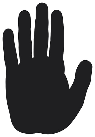 closed fist sign: stop hand silhouette