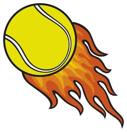 tennis ball in fire Stock Vector - 15686855
