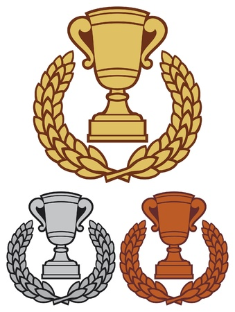 best place: gold, bronze and silver trophy cup with laurel wreath (trophy cup emblem, winner cup, first place, second place and third place) Illustration