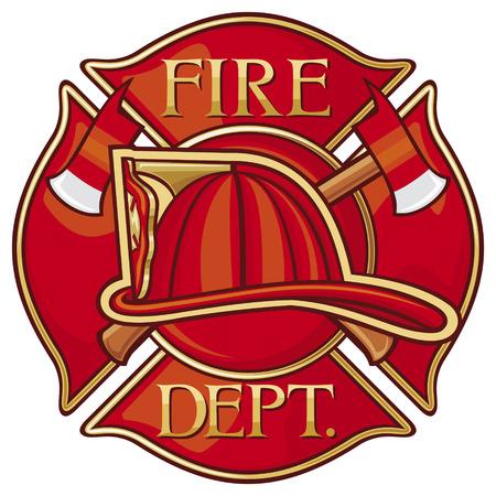 bombero de rojo: Los bomberos del Departamento de Bomberos o del s�mbolo de la cruz maltesa Vectores