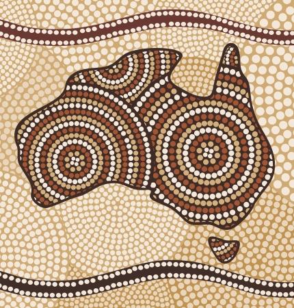 Carte de l'Australie (peinture dans le style abstrait autochtone)