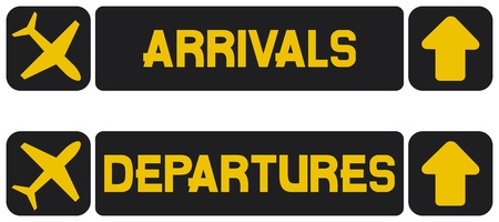 arrivals: arrival and departures airport signs (information panel on the direction of arrivals and departures at airports)