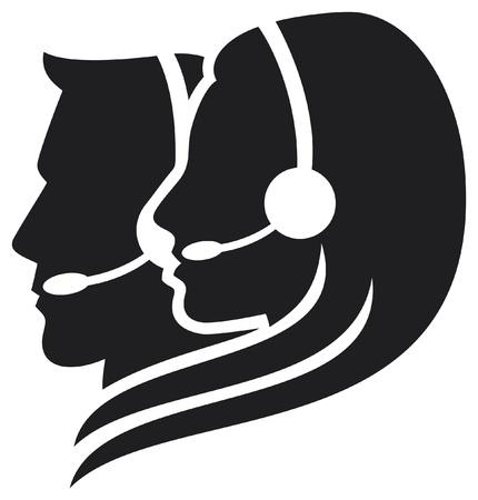headset business: cuffia simbolo (auricolare donne, call center icona, faccia con l'auricolare, operatore di telefonia supporto auricolare, assistenza clienti donne, cuffia uomo, uomo di assistenza clienti)