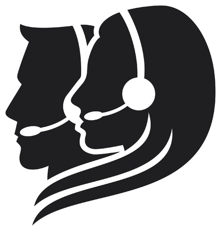 call center office: headset symbol (women headset, call center icon, face with headset, support phone operator in headset, women customer support, man headset, man customer support) Illustration