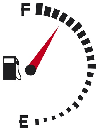 filling station: gas gauge (gas tank, gas gage, fuel gauge) Illustration