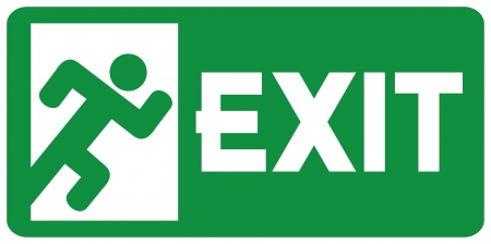 green exit emergency sign (emergency exit door - sign with human figure, emergency exit label, emergency exit icon)
