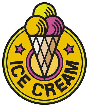 sundae: ice cream label (ice cream icon, ice cream sign, ice cream cones)
