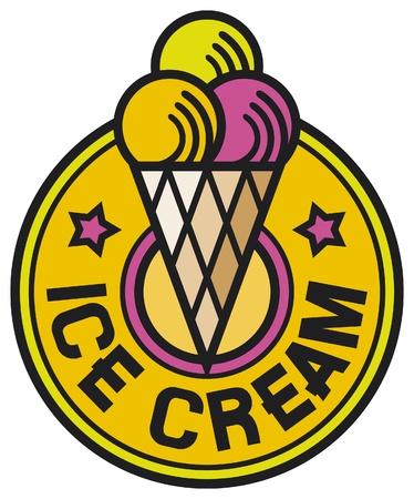 icecream sundae: ice cream label (ice cream icon, ice cream sign, ice cream cones)