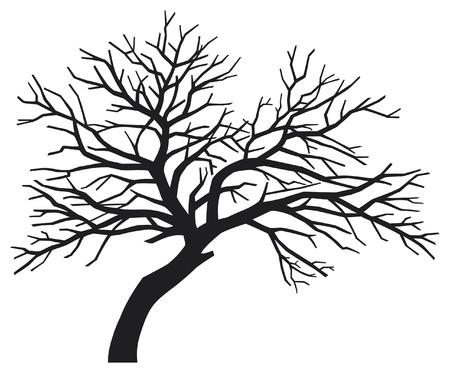 kale: enge kale zwarte boom silhouet (boom zonder bladeren, boom silhouet) Stock Illustratie
