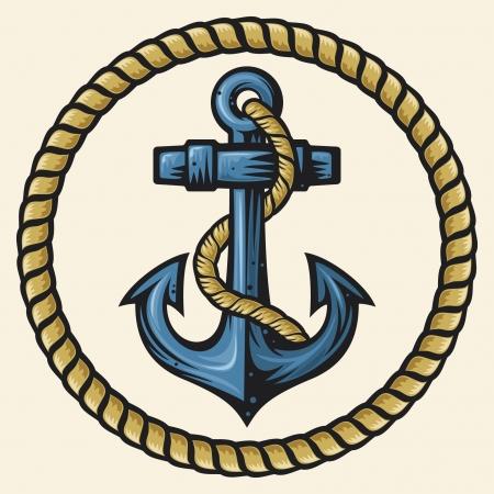 ancre marine: ancre et corde de conception