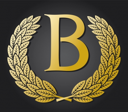 letter B and gold laurel wreath  gold letter B  Vector