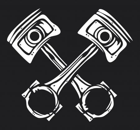 ベアリング: 交差のエンジンのピストン  イラスト・ベクター素材