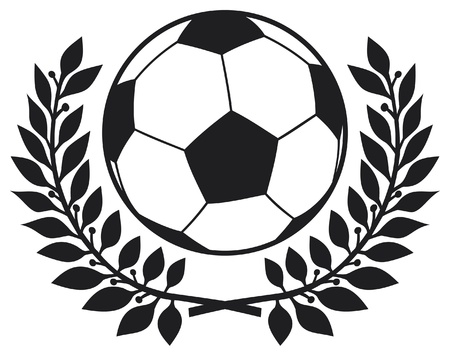football ball and laurel wreath  football club symbol, soccer club symbol, football emblem, football design  Vector