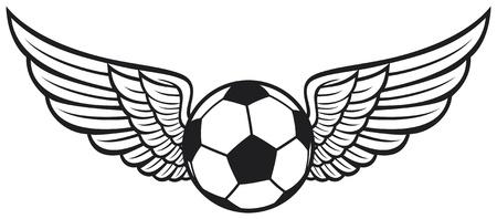 pelota de futbol: bal�n de f�tbol con alas emblema Emblema del f�tbol, ??f�tbol dise�o